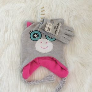 Other - Girls Unicorn Hat & Gloves Set